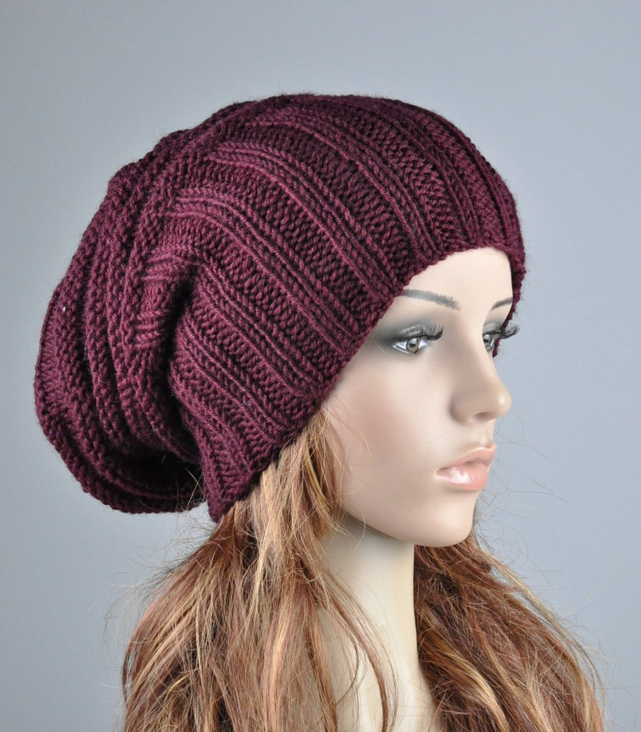 Knitting Pattern Hat Chunky Wool : Hand knit hat Burgundy Chunky Wool Hat slouchy hat wine
