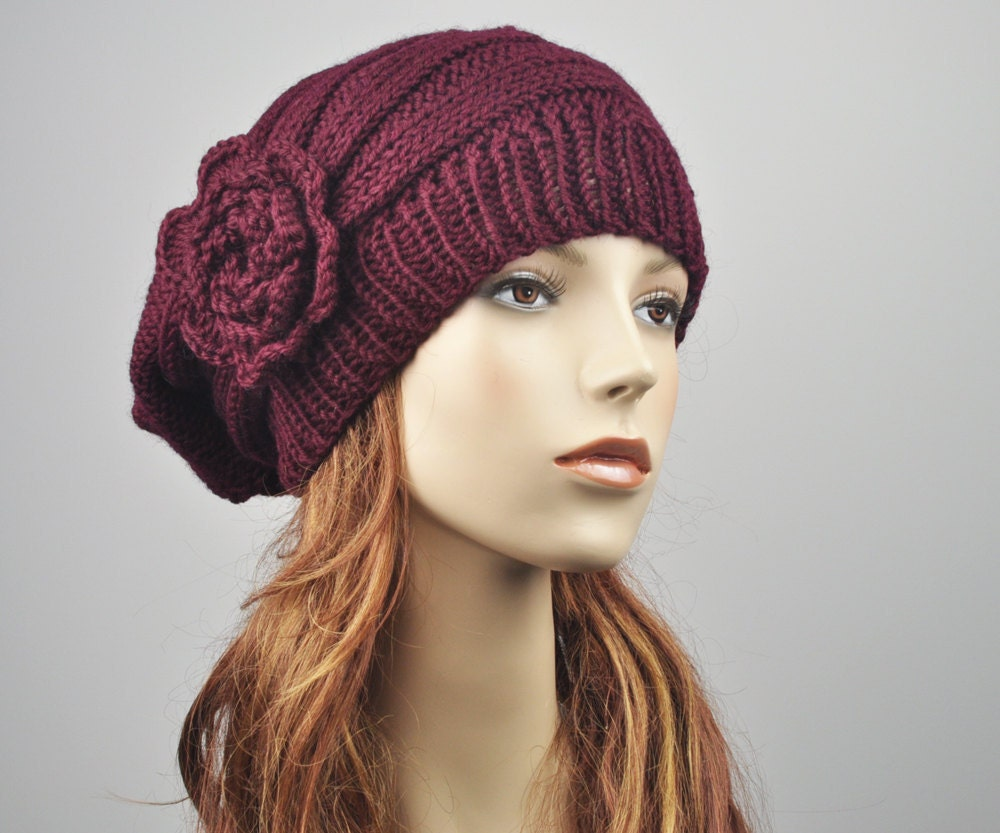 Oversized Beret Knitting Pattern : Hand Knit Hat Oversized Beret Hat with crochet flower in