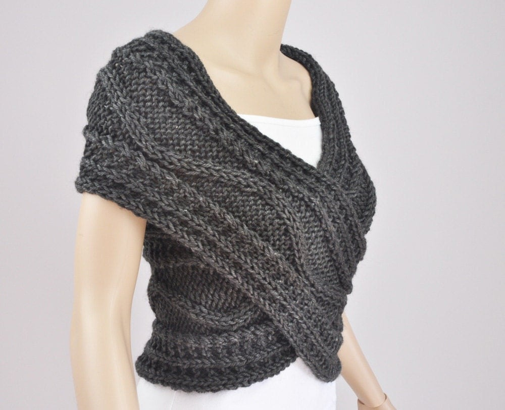 Vest Jumper Knitting Pattern : Hand knit vest Cross Sweater Capelet Neck warmer in