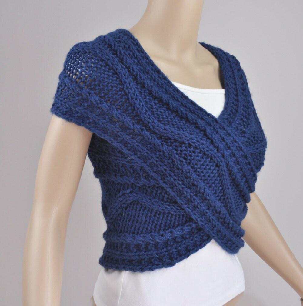 Hand knit Cross Sweater/ vest/ Capelet/ Neck warmer in Ocean