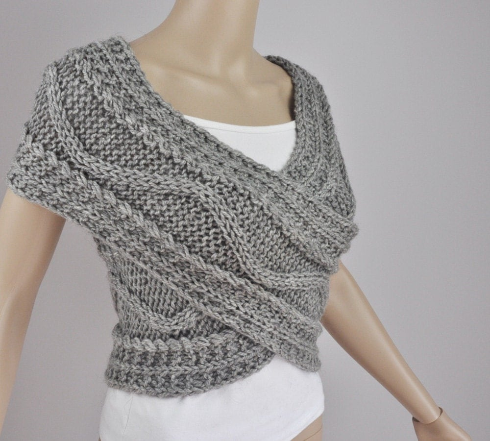 Knitting Pattern Cardigan Vest : Hand knit woman sweater wool vest Cross Sweater Capelet Neck