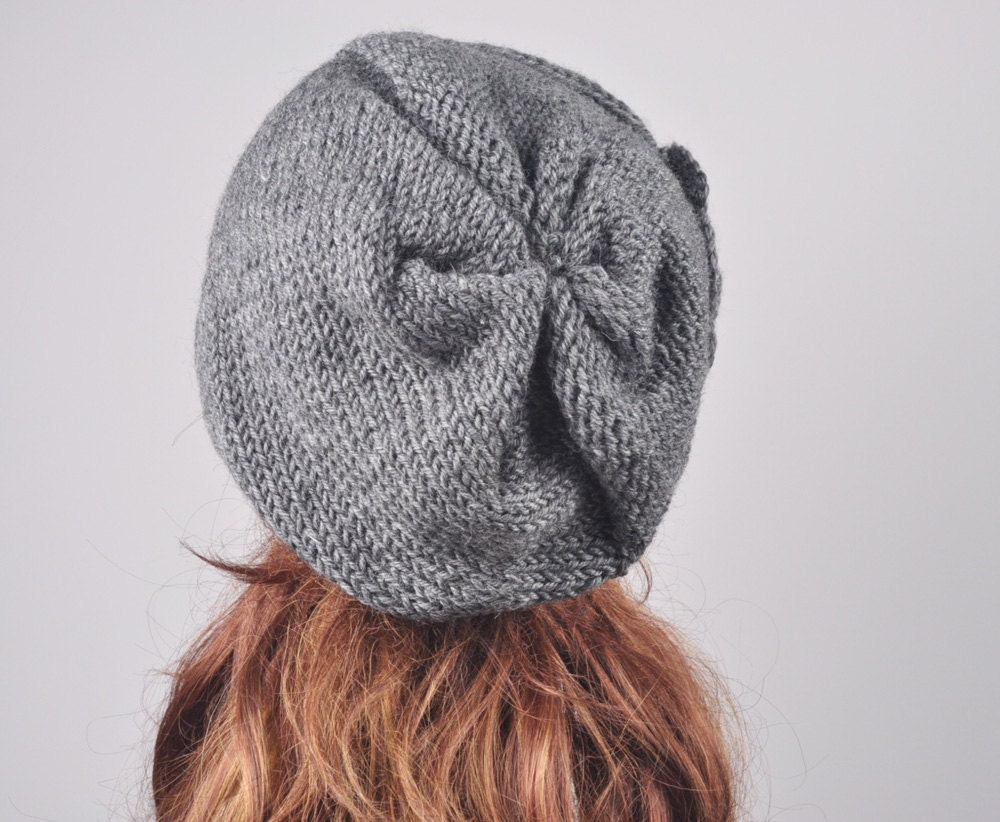 Oversized Beret Knitting Pattern : Hand Knit woman winter wool Hat - Oversized Beret Hat with crochet flower in ...