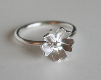 Petite Rose Silver Flower Ring, Silver RIng, 925 Ring, Silver Jewelry, Flower Jewelry, Gift for Her, Metalwork, Handmade Silver Ring