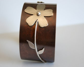 Silver Daisy Cuff Bracelet, Rustic Cuff, Rustic Metal Jewelry, Metalwork, Art Jewelry, Rustic Style Jewelry, Mixed Metal, SIlver Flowers