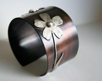 Rustic Metal Jewelry, Daisy Cuff, Rustic Cuff, Rustic Flower Jewelry, Silver Cuff, Mixed Metal Cuff, Dark Patina, Flower Jewelry