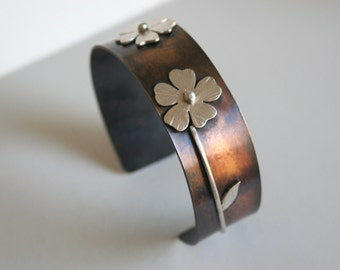Poppy Cuff Bracelet, Mixed Metal Cuff, Rustic Cuff, Rustic Jewelry, Flower Cuff, Poppy Jewelry, Gift for Her, Silver and Brass, Mixed Metal