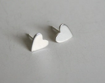 Tiny Silver Heart Post Earrings, Silver Heart Earrings, Silver Post Earrings, Hand Cut Hearts, Really handmade Jewelry, Actually Handmade