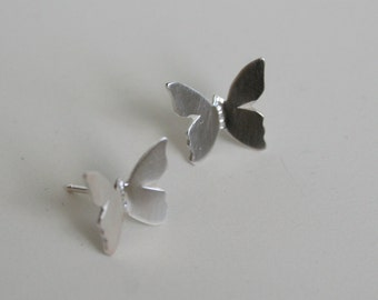 Silver Butterfly, Stud Earrings, Butterfly Earrings, Silver Butterfly Earrings, Silver Stud Earrings, Flying Butterfly Jewelry, Sterling 925