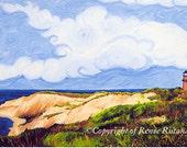 "Gay Head Lighthouse Aquinnah Cliffs, Martha's Vineyard, Cape Cod Matted Print Larger Size 11""X14"""