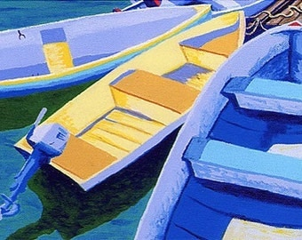 """CAPE COD Rowboats, Dinghy, Skiff, 8x10"""" Matted Print"""