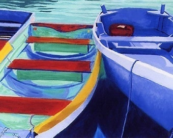 """CAPE COD Rowboats Blues Greens, 8x10"""" Matted Print, Dinghy"""