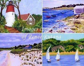 ACEO PRINT SET of 4 Original Cape Cod Nauset, Eastham, Martha's Vineyard, Chatham, Sandy Neck, Boats and Beach Paintings