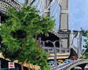 ACEO Print of Brooklyn Bridge, New York City Painting