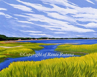 """8x10"""" Matted Print of Original Maine Marsh Painting"""