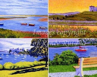ACEO Print Set of 4 Original Cape Cod Truro, Harwichport, Boats and Beach Paintings