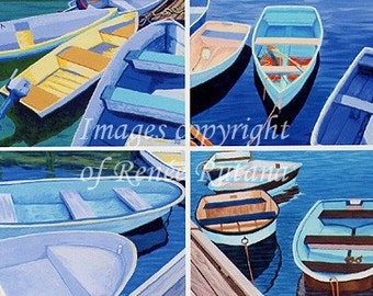ACEO Print Set of 4 Original Cape Cod Rowboat Paintings, Shades of Blue