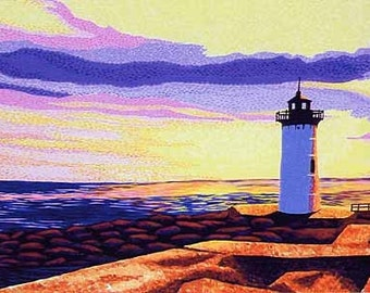"""Portsmouth, New Hampshire, Newcastle Sunset, Lighthouse, 8x10"""" Matted Print"""