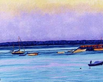 """CAPE COD Sea Provincetown Painting Boats 8x10"""" Matted Print"""