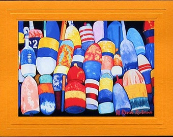 ROCKPORT LOBSTER BUOYS Reds, Yellows, Greens and Blue Nautical Blank Greeting Card