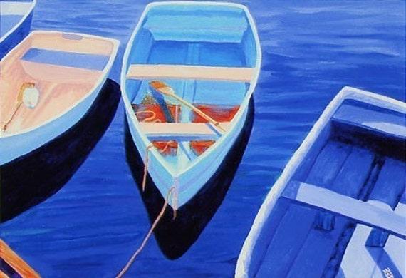 "CAPE COD Rowboats Blues, Aqua, Peach 8x10"" Matted Print Dinghy"