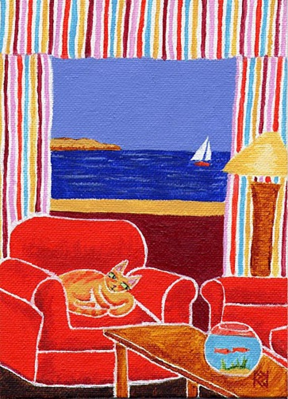 """Curious Cat with Goldfish and Sailboat 8x10"""" Matted Print"""