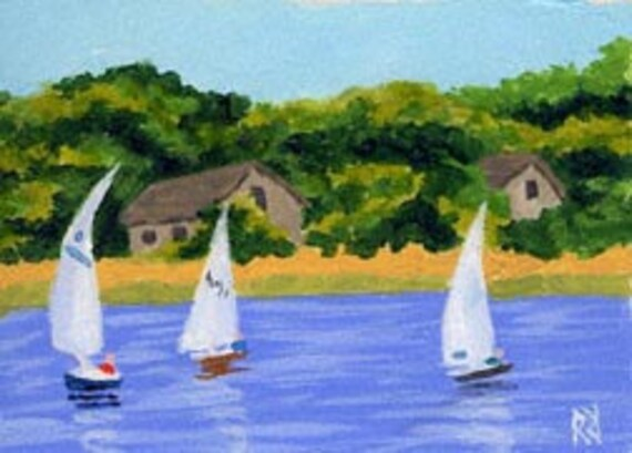 ACEO Print of Cape Cod Chatham Sail Boats & Beach Painting