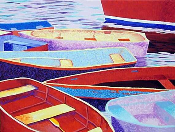 "ROCKPORT ART Dinghies, Original Acrylic Painting Rowboats, 18"" x 24"""