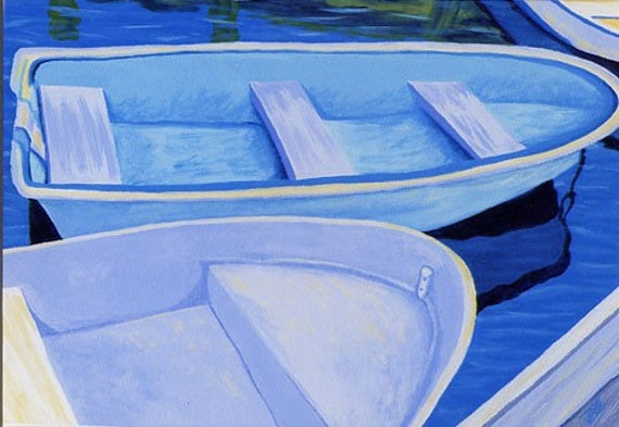 """CAPE COD Rowboats Various Blues 8x10"""" Matted Print Dinghy"""