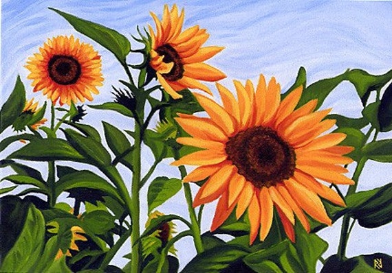 SUNFLOWERS Yellows, Greens and Blue Matted Print
