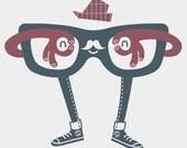 Hipster Glasses Tshirt - Silver American Apparel Shirt - Men's Small
