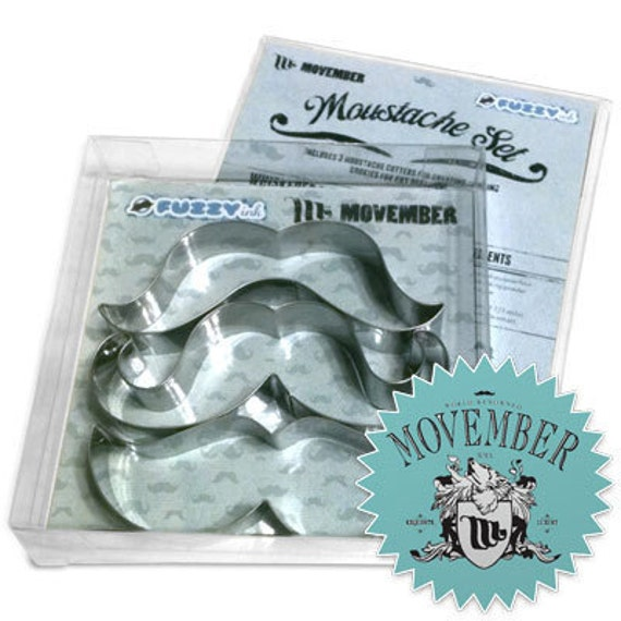 Cookie Cutters, Movember, Mustaches,  Great Bakery Gift, Stainless Steel - Set of 3