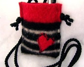I HEART MY IPOD cell phone case cozy pouch from recycled black white red lambswool sweater YART SALE