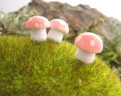 Small Spun Cotton Mushrooms - One Dozen
