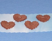 Ceramic Buttons - Four Ruffled Hearts - Plum Brown - Stoneware Ceramics Pottery