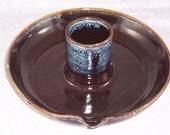 Ceramic Chicken Baking Dish Chicken Beer Baker chocolate brown denim blue Flavor infuser Wheel Thrown Stoneware Ceramics Pottery