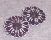 Ceramic Flower Shank Buttons Shiny Grape Purple Stoneware Ceramics Pottery