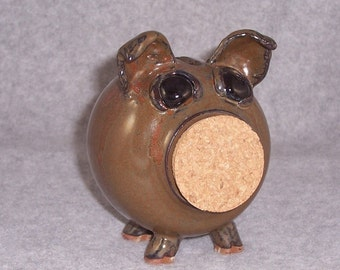 Ceramic Piggy Bank - Cork Snout - Brown - Wheel Thrown Bank - Stoneware Pig - Pottery Pig Bank
