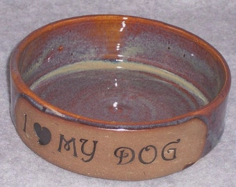 Dog bowl - Ceramic - I Love My Dog - Handmade - Brown - Wheel thrown  Stoneware Ceramics   Pottery