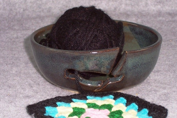 Yarn bowl Holder Blue Green with Bird Stoneware Wheel Thrown Hand Carved Ceramics Pottery