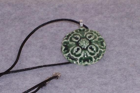 Geometric Ceramic Rosette Pendant  Emerald Green Ceramics Pottery