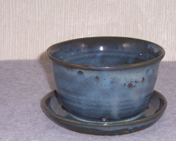 Like this item? - Ceramic Planter With Attached Saucer Flower Pot In Slate
