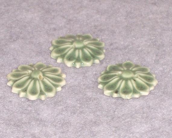 Jade Green Ceramic Flower Buttons Ceramics Pottery