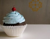 Fake Cupcake King Size Chocolate Cupcake Blue Frosting w/Cherry Perfect Photography Prop Can add Photo Holder or Business Card Holder