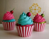 """Fake Cupcake """"Under The Big Top"""" Carnival Collection Turquoise Frosting/Hot Pink Cake Funky Standard Size Cupcake Too Cute"""