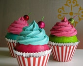 "Fake Cupcake ""Under The Big Top"" Collection Turquoise Frosting Hot Pink Cake Funky Standard Size Cupcake"