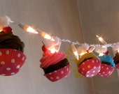 "Fake Cupcake ""Cupcake Land"" String of Lights 12 Legs Original Concept/Design 10 Minis Fab Bakery Decor, Kitchens, Dorms, First on Etsy"