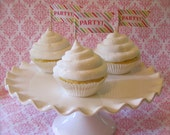 Fake Cupcakes Set 3 White Iced Golden Vanilla Standard Size Cupcakes For Displaying Cupcake Toppers or Decor Toppers NOT Included