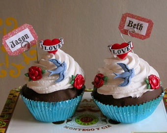 """Fake Cupcake Faux Cupcake Retro Rockabilly Tattoo Themed Cupcake """"All Tatted Up"""" Can Be Customized With Names, Photo/Business Card Holder"""