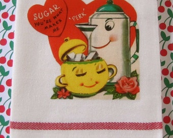 VIntage Anthropomorphic Valentine with Coffee Pot and Sugar Jar Great Valentine Day Gift for Teachers, Valentines Day Parties
