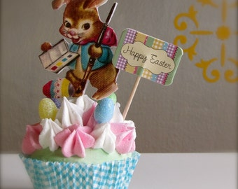 Fake Cupcake Standard Size Cupcake Easter Bunny Artist Can be made into a Photo Holder or Business Card Holder